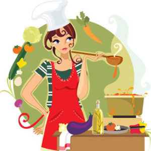 lady cartoon cooking